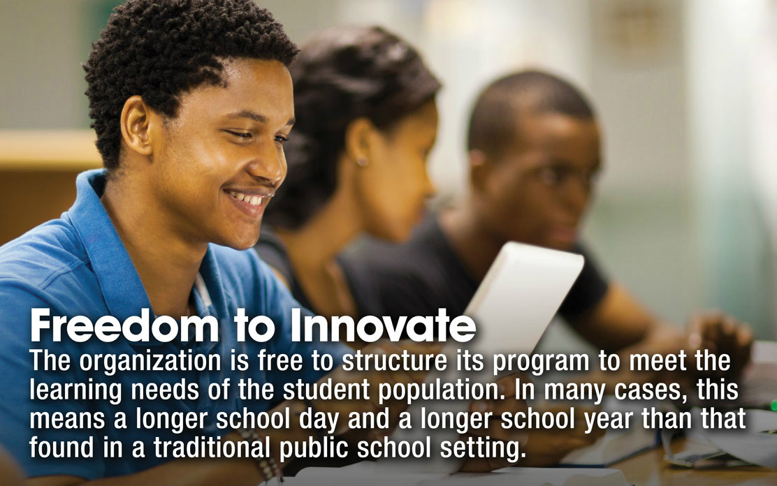 Freedeom to Innovate - The organization is free to structure its program to meet the learning needs of the student population. In many cases, this means a longer school day and a longer school year than that found in a traditional public school setting.