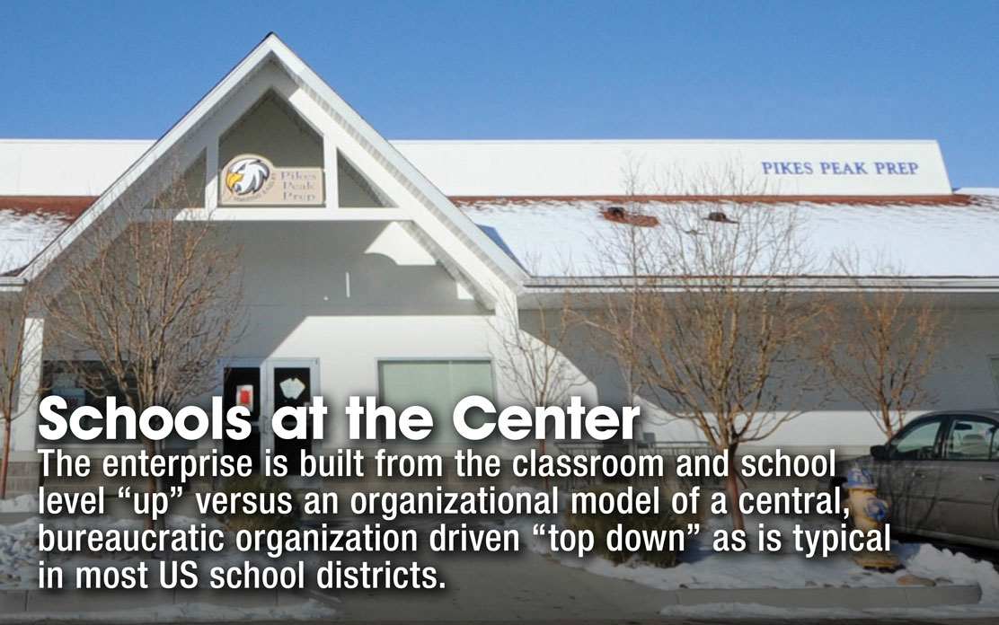 "Schools at the Center - The enterprise is built from the classroom and school level ""up"" versus an organizational model of a central, bureaucratic organization driven ""top down"" as is typical in most US school districts."